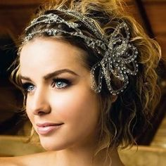 16 Best Wedding Hairstyles for Short and Long Hair, , Hair Style 16 meilleures coiffures Curly Wedding Hair, Wedding Hair And Makeup, Hair Makeup, Wedding Updo, Wedding Headband, Bridal Headbands, Wedding Ceremony, Bridal Makeup, 20s Wedding