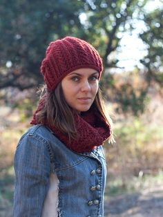 Purple crochet pompom beanie hat and circle scarf set, terracotta knit snood / cowl, marsala color, knit neck warmer, womens knit winter hat by SanniKnitting on Etsy