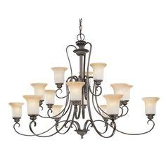 Regency Colonial Bronze Fifteen-Light Chandelier