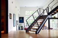 The modern steel staircase inside and outside in the amazing design