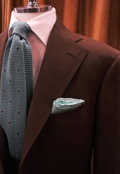 — bntailor: Brown Linen Suit & Knit Tie
