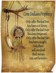 """native american indians 'Native American Indian """"Cree Prophecy""""' Poster by Irisangel Native American Prayers, Native American Spirituality, Native American Wisdom, Native American History, American Indians, American Symbols, Native American Cherokee, Native American Mythology, Native American Girls"""