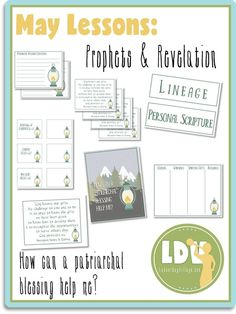Come, Follow Me: Prophets and Revelation - May: How can a Patriarchal Blessing help me? Lesson Handouts, Posters, Activity Sheets LatterDayVillage.com
