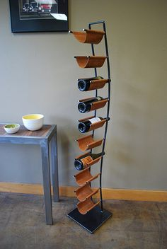 Wine Rack of Steel and Leather by deliafurniture on Etsy, $350.00