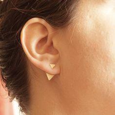 Triangle Shaped Ear Jacket earrings,geometric triangle,gift for women,statement,front back earring jackets,double sided earring studs 0191