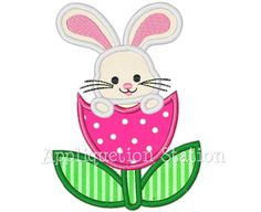 Easter Bunny Tulip Flower Applique Machine by AppliquetionStation Diy Embroidery Stitches, Embroidery Monogram, Applique Embroidery Designs, Machine Embroidery Applique, Applique Quilts, Applique Patterns, Flower Applique, Sewing Patterns, Dolls And Daydreams