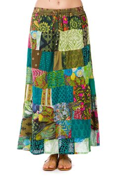 Eco Village Patch Skirt from Tree of Life.  Gypsy fashion, hippie fashion, Boho Fashion, Bohemian <3 Could use extra fabric I have to make this :)