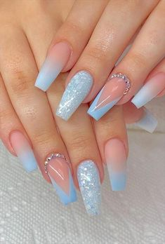 Blue And White Nails, Blue Glitter Nails, Blue Coffin Nails, Light Blue Nails, Blue Acrylic Nails, Acrylic Nails Coffin Short, Purple Nails, Color Nails, Red Purple