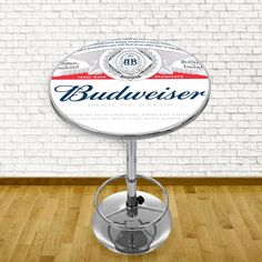Trademark gameroom budweiser chrome pub table label design l budweiser label design pub table in chrome grey watchthetrailerfo