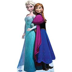 Our Disney Frozen Elsa & Anna Life Size Standee shows an image of the two royal sisters from Frozen movie. This free-standing cardboard prop is 70 inches high.