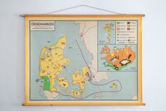 Original Vintage Dutch Map of Denmark, Iceland and Faroe islands