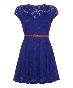 Take a look at the Blue Lace-Overlay Belted A-Line Dress on #zulily today!