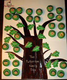 Family tree...leaves are children and their spouses,the cupcakes are grandchildren and great grandchildren