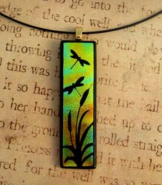 Dragonfly Sunset Fused Glass Pendant. $25.00, via Etsy.
