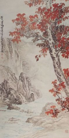 Chinese hanging scroll Landscape painting Antique wall art hsky1-202