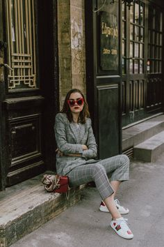 Zara check printed suit, mango check printed blazer,topshop checked flared trousers, checked suit, cropped trousers, gucci white ace heart embroidered sneakers, furla metropolis red bag, coke tee, coca cola t-shirt, andreea birsan, couturezilla, cute fall outfit ideas 2017, check suit, edgy outfit for women, silk scarf, red retro sunglasses, big sunglasses, tomboy chic outfit, how to style a suit, what to wear with a women suit, how to make a suit look casual chic, how to make an outfit look…