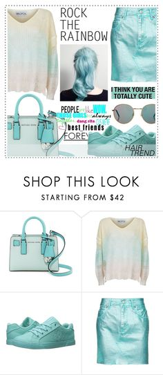 """""""Matchy-Matchy Hair"""" by alaria ❤ liked on Polyvore featuring beauty, MICHAEL Michael Kors, Wildfox, DC Shoes, Topshop, hairtrend and rainbowhair"""