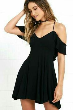 Lifetime of Love Black Backless Skater Dress Lulus Exclusive! Get a little flirty with the Lifetime of Love Black Backless Skater Dress! Ruffled shoulder straps support a darted triangle bodice. Grad Dresses, Homecoming Dresses, Dress Outfits, Short Dresses, Fashion Dresses, Summer Dresses, Formal Dresses, Dresses Dresses, Frilly Dresses