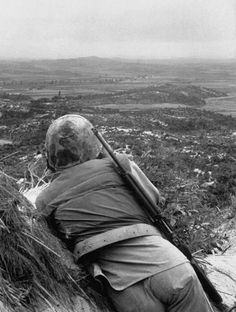 A Marine At The Division Outpost Near No Fire Truce Site Panmunjom Korea 1952