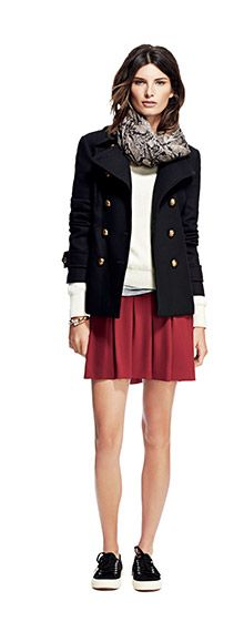 Banana Republic Fall 2014 Box Pleat Skirt, Classic Peacoat, Heritage Python Scarf (or Patricia Scarf). No: actually, it's Candice Scarf. Third time lucky.