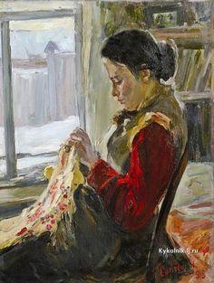 «Впечатления дороже знаний...» - Рукоделие в живописи. За вышиванием... 11