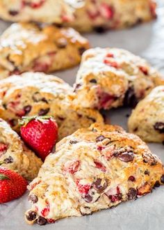 These tender strawberry chocolate chip scones melt in your mouth! A buttermilk scone batter, lightly sweetened and loaded with strawberries and chocolate chips.