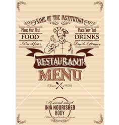 Template for the cover of menu with chef vector - by 111chemodan111 on VectorStock®