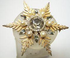 Vintage Rhinestone Faux Pearl Snowflake Pin by GretelsTreasures