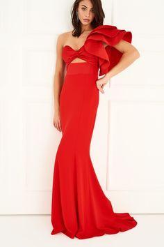 Kırmızı Tek Omuzu Volanlı Elbise