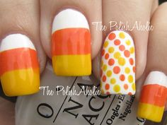 cute candy corn design nails with polka dot accent nail Halloween Nail Art Designs - iVillage Fancy Nails, Love Nails, Diy Nails, Pretty Nails, Candy Corn Nails, Do It Yourself Nails, Halloween Nail Art, Halloween Candy, Fall Halloween