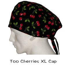 Scrub Surgical XL Caps Too Cherries 100% cotton made in the USA