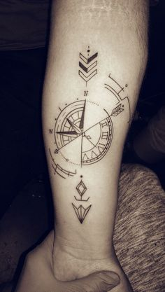 #tattoo #compass #arrow #clock