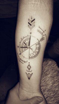 #tattoo #compass #arrow #clock