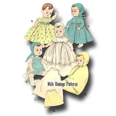 """Vtg Baby Doll Clothes Pattern ~ for 11"""" 12"""" Tiny Tears, Betsy Wetsy, Dy Dee"""