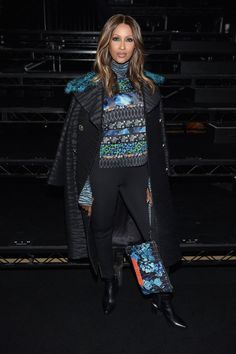 Iman in the front row at the Kenzo x HM fashion show in New York.