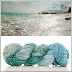 Sea Breeze - scrumptious superwash merino wool Resilient sock yarn by Expression Fiber Arts - beautiful sea blues and greens and a heavenly soft, bouncy yarn base great for accessories like knitted or crocheted shawls, wraps, headbands, baby stuff (machine-washable, ladies!), blankets, socks, sweaters and more. Loveeee. ;)