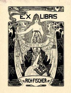 Ex libris by Ephraim Mose Lilien for Richard Fischer, 1900c.