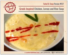 A recipe for Greek chicken lemon soup.