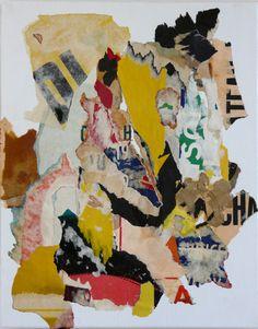 41 x 33 cm - Torn posters on canvas-Les Sablons