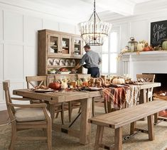 Need dining room inspiration? Shop Pottery Barn for stylish dining room ideas, furniture and decor. Patio Dining, Dining Table Chairs, Dining Room Furniture, Table Bench, Room Chairs, Outdoor Dining, Furniture Decor, Furniture Design, Outdoor Furniture