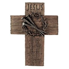 Lighthouse Christian Products Cast Stone Jesus Nails & Crown Wall Cross. The message of love is great for Easter celebrating and all year round.