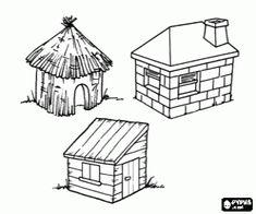 Coloriage Ce sont les trois maisons des trois petits cochons, la maison de paille, la maison de bois et maison de briques