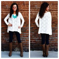 Love this look!!! Lace flowy top, leggings, boots, color of necklace... Yep!
