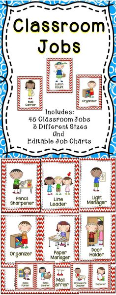Classroom Jobs - This classroom jobs card set includes 45 different jobs and editable templates. . The classroom job set is a must have for the elementary classroom! This classroom organization tool will save teachers time throughout the entire school year and make the students feel useful and like they have a purpose in the classroom.