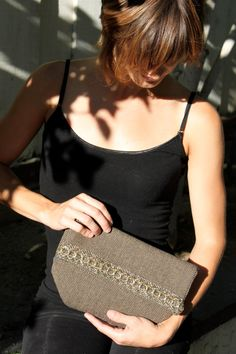 Madge, Fold-Over Herringbone Clutch Handbag with Gold Trim and Palm Tree Interior
