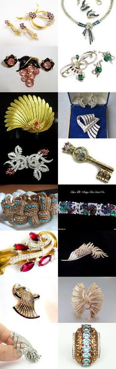 The best of Alfred Philippe, Marcel Boucher, Mazer Brotherers, and Kramer NY. Stunning vintage jewelry from the shops of the Vintage Vogue Team #vogueteam #etsy #treasury #jomaz #ktf #vintagejewelry #boucher #mazer #crowntrifari #kramer #alfredphilippe #mcclellandbarclay #jewelry