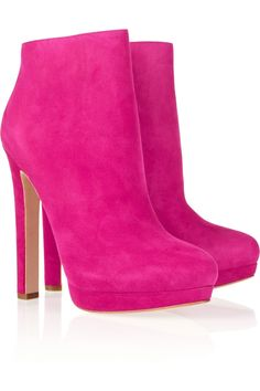 If only I could wear heels this tall ... or had $1,075 laying around for a pair of pink ankle boots. Alexander McQueen