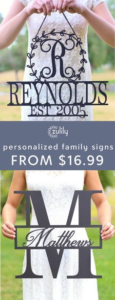 Sign up to shop personalized family name wall signs, from $16.99. Celebrate love and marital bliss with this beautiful wall sign. Adorn your walls with this sign for a unique personalized touch.
