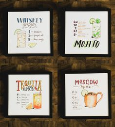 Dress up your bar cart, kitchen, or studio space with this set of four cocktail art prints. Each recipe is lettered and painted by hand.