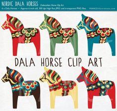 Dala Horse Clip Art. Traditional Nordic Folk Art Designs. Swedish Scandinavian Clipart. Dalahäst/Dalecarlian horse. Commercial Use. Pony. by carlani